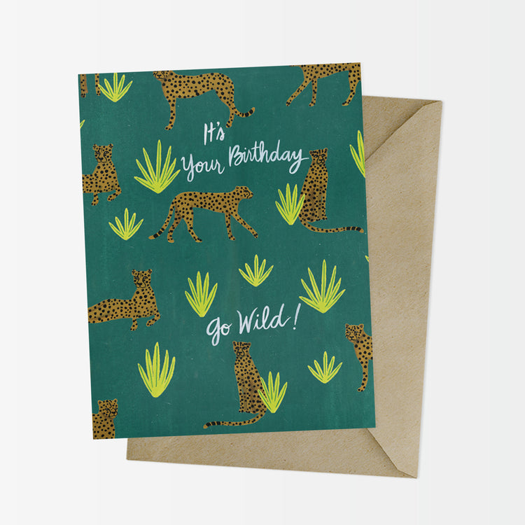 Cheetah Pattern Wild Birthday Card