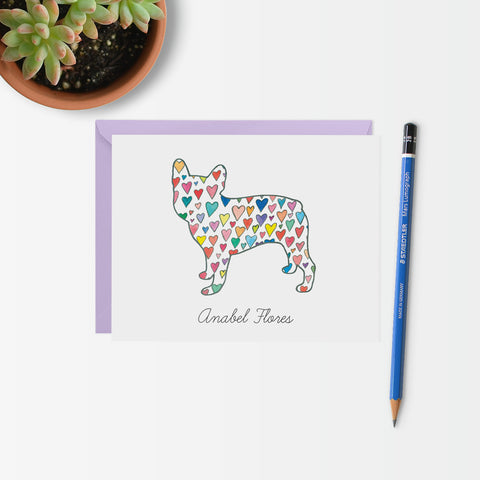 Personalized French Bulldog with Hearts Note Card Set