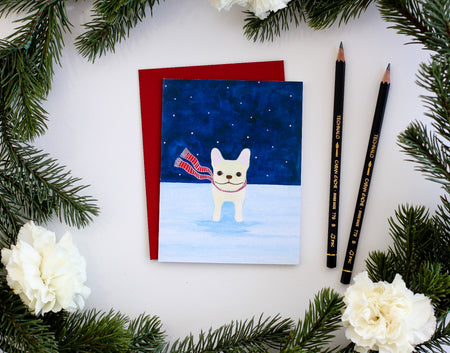 Frenchie in The Snow Card