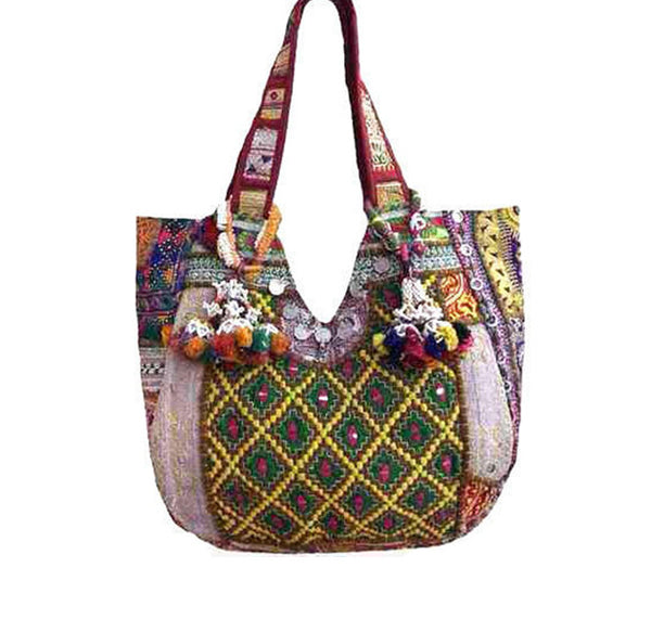 Silver and gold thread embroidered tote with tassels