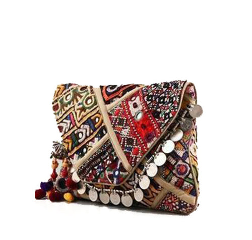 Eenbroidered Clutch with shell detail