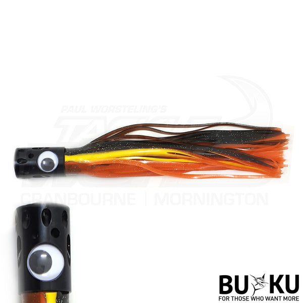 BUKU Black Metal Head Skirted Lure - Tuna Marlin Salmon