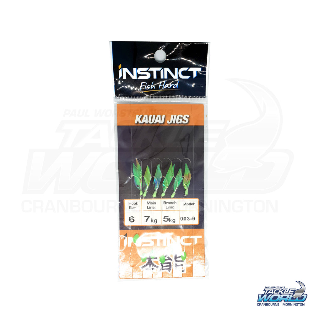 Instinct Sabiki Bait Rig - Green Holo Feather/Lumo