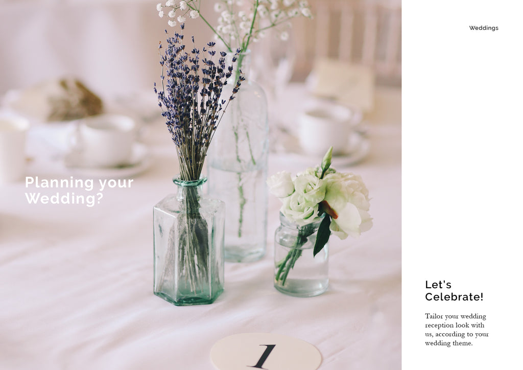 Light and feminine decoration for dining table at events