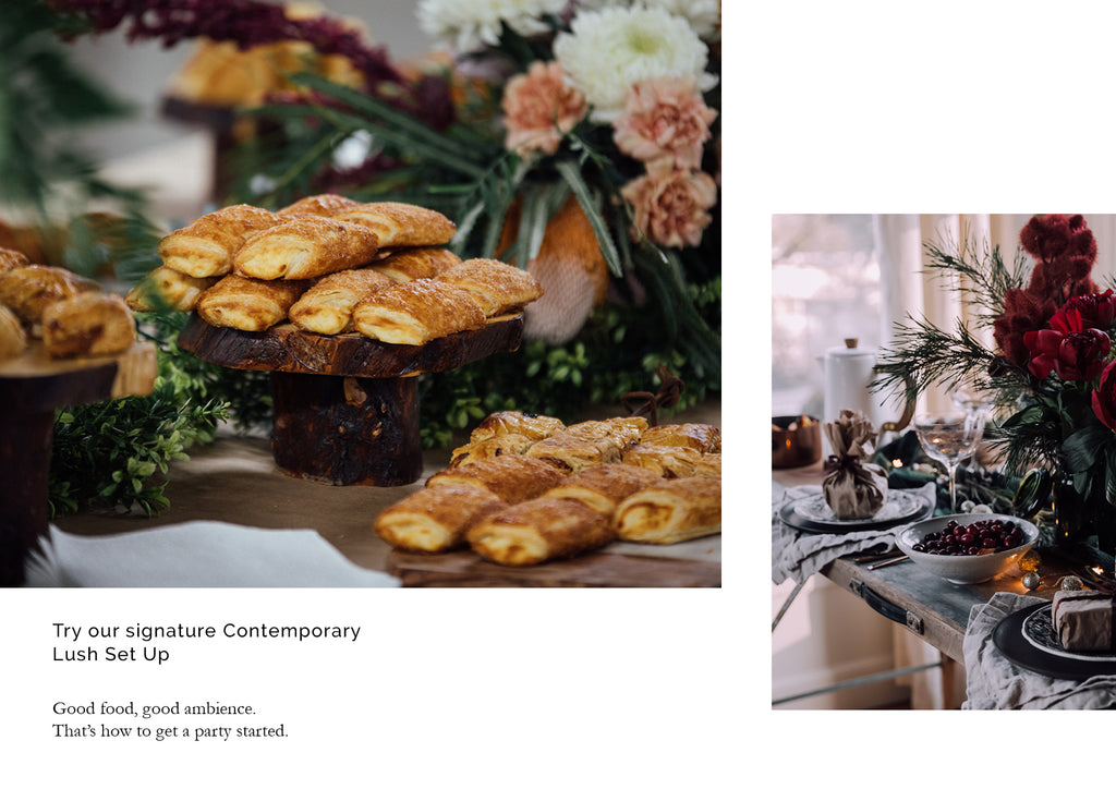puff pastry at catered event with flower decoration