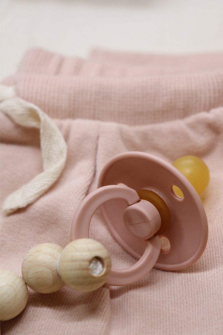 bibs rose petit stellou pacifier holder