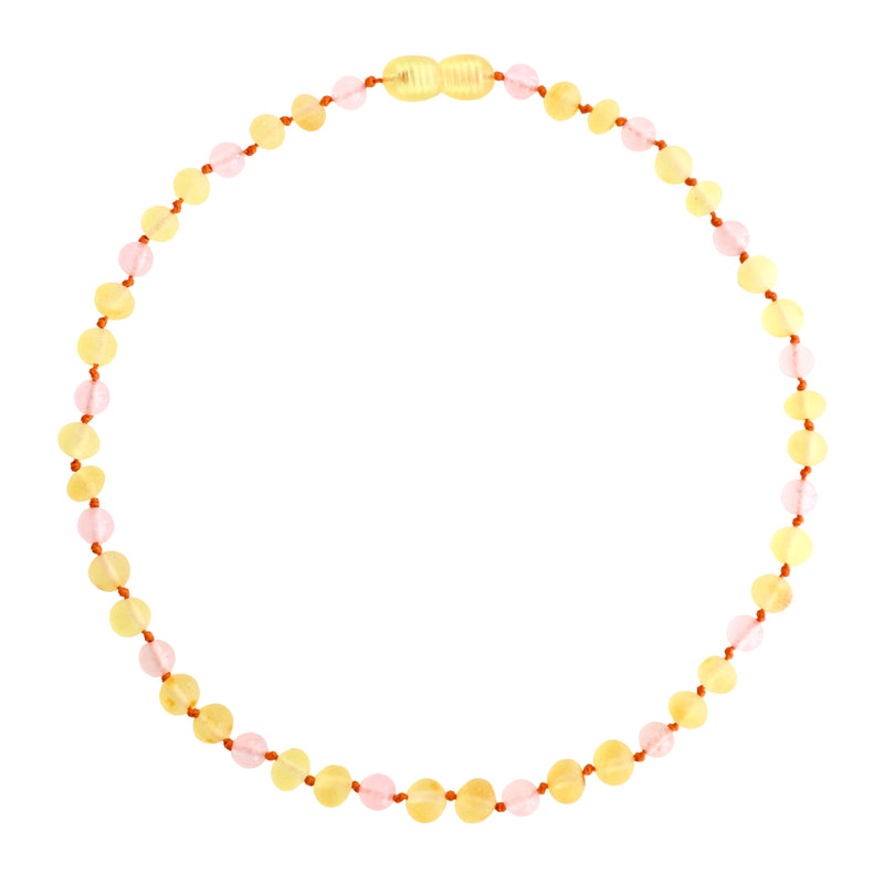 petit stellou baby amber necklace honey rose
