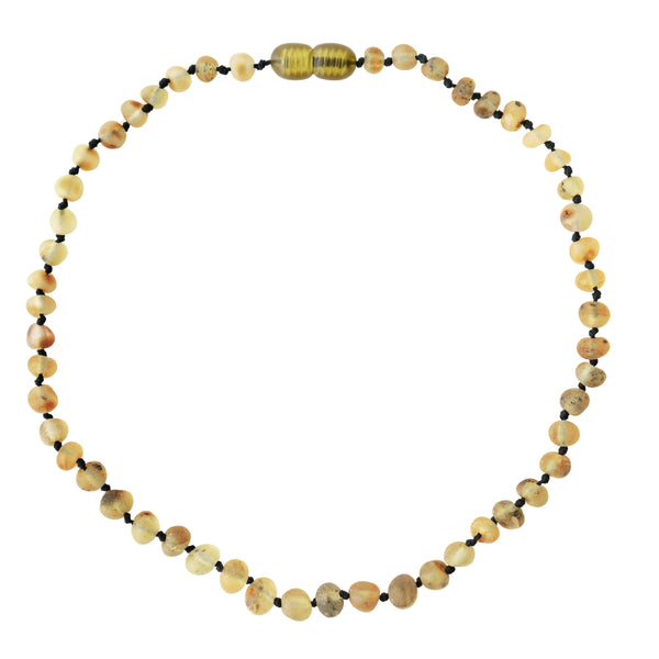 petit stellou baby amber necklace sand dark