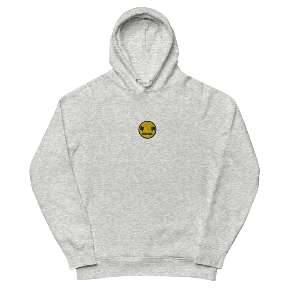 Smiley Emroided Grey Hoodie