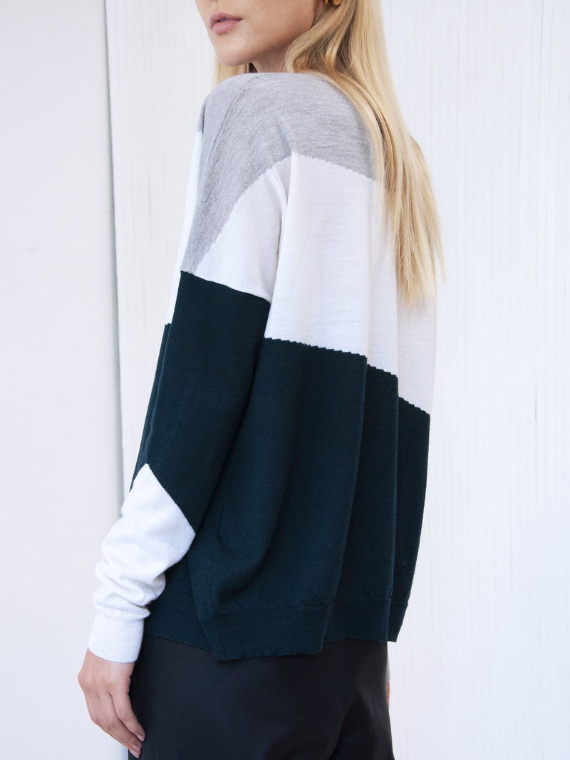 Pull Ample Colorblock  Vert Bouteille SANDERS