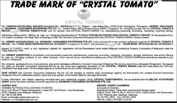 Warning: Imitation Crystal Tomato® in the market