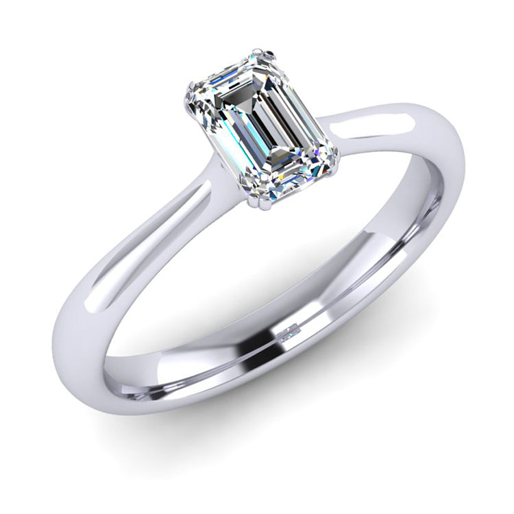 GIA D Colour Emerald Cut Diamond Solitaire Engagement ring in Platinum