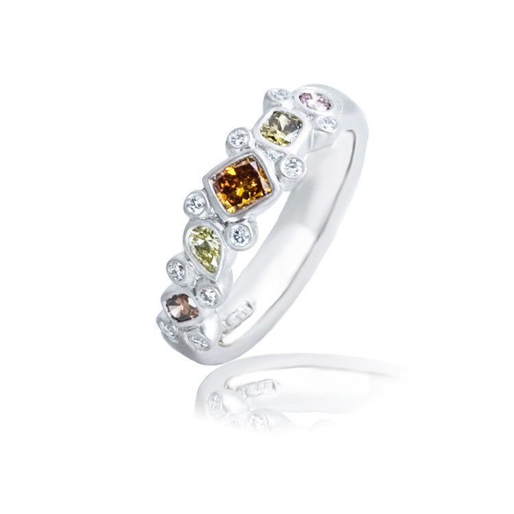 Natural Coloured Diamond Sui Generis Platinum Ring