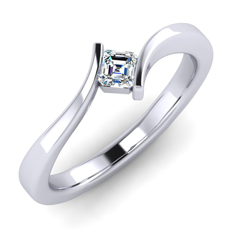 Carré Cut Diamond Twist Solitaire Platinum Ring