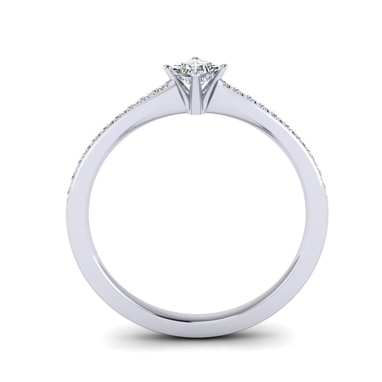 Fine Princess Cut Diamond and Platinum Ring