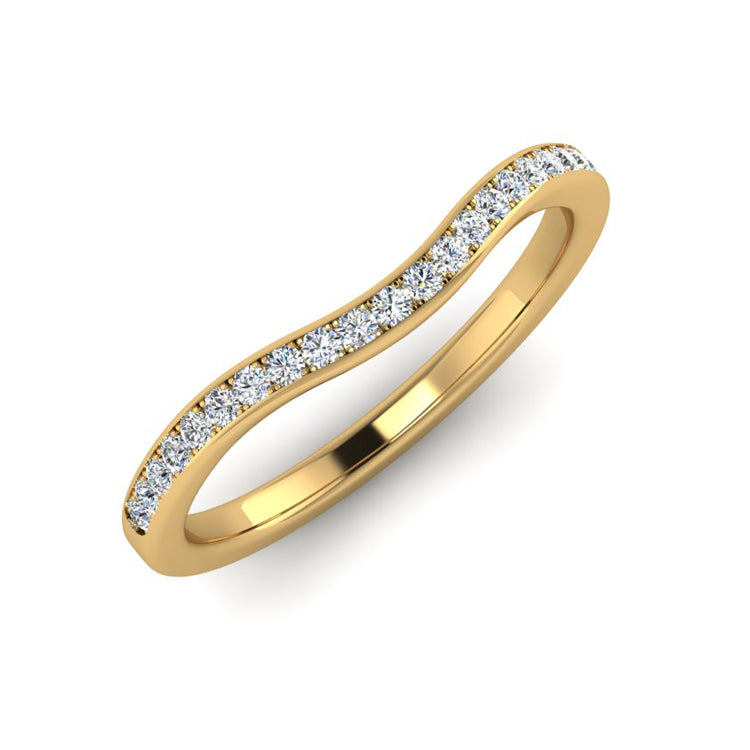 18ct Gold 2mm Shaped Diamond Wedding Ring