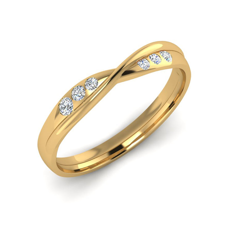 18ct Gold Gyspy Set Diamond Twist Wedding Ring