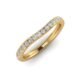 18ct Yellow Gold 2mm Shaped Eternity Ring with 15 Fine Diamonds