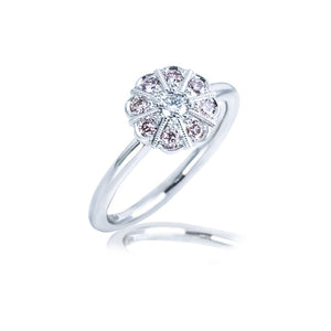 Vintage Inspired Platinum ring with Natural Rose Pink Diamonds and milgrain detail