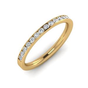 18ct Gold 2mm Wedding Ring with 15 Diamonds