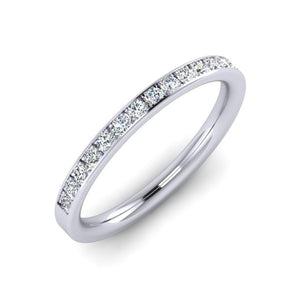Platinum 2mm Wedding Ring with 15 Diamonds