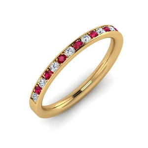 18ct Gold 2mm Eternity Ring with Ruby and Diamond