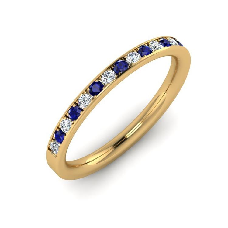18ct Gold 2mm Eternity Ring with Sapphire and Diamond