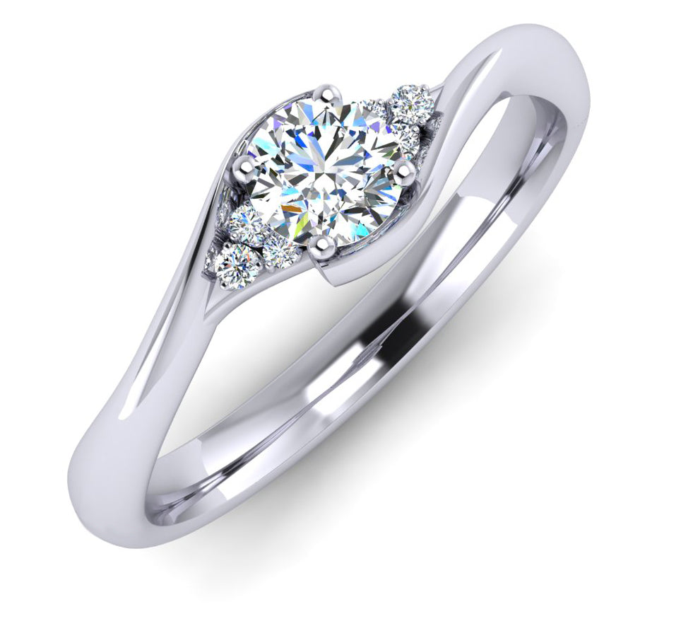 Fine Diamond Twist Platinum Engagement Ring