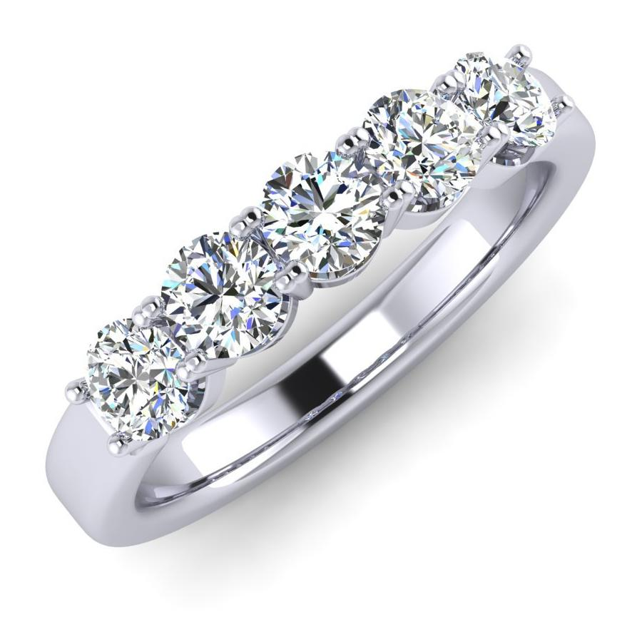 Platinum Eternity Ring with Five Modern Round Brilliant Diamonds