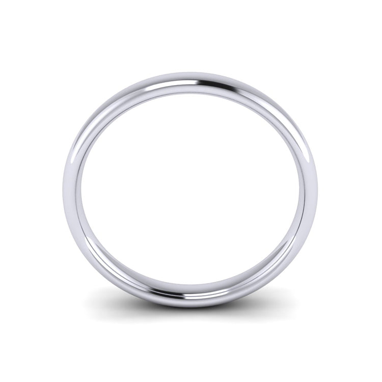 Platinum 3mm Simple Court Mens Wedding Ring