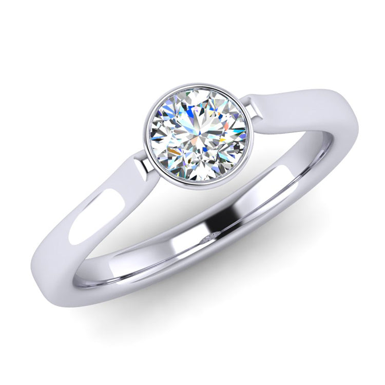 Hand fabricated Collet Set Fine Diamond Solitaire Engagement Ring in Platinum