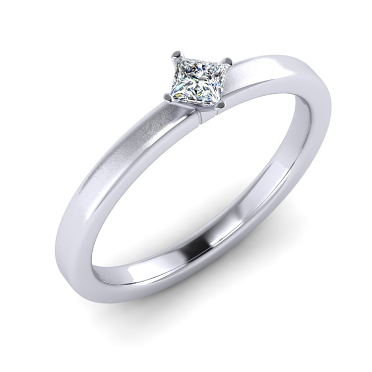 Platinum and Fine Princess Cut Diamond Engagement Ring