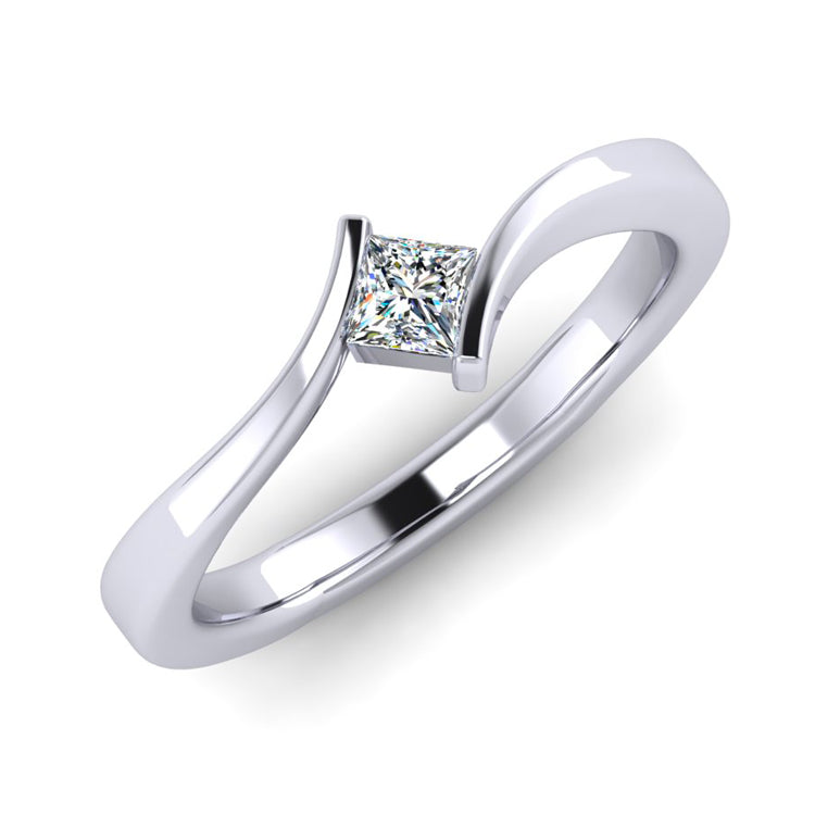 Platinum and Fine Princess Cut Diamond Twist Engagement Ring