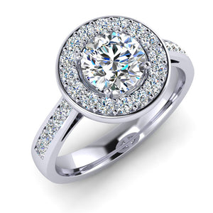 Platinum Halo Engagement Ring with GIA Certified E VS1 Diamond
