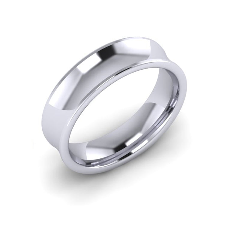 Platinum 6mm Concave Men's Wedding Ring
