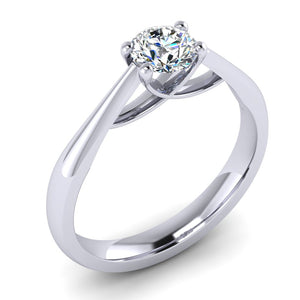 GIA E VS2 Fine Diamond Engagement Ring hand fabricated in Platinum