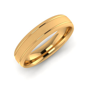 18ct Yellow Gold 5mm Wedding Ring with Two Engraved lines