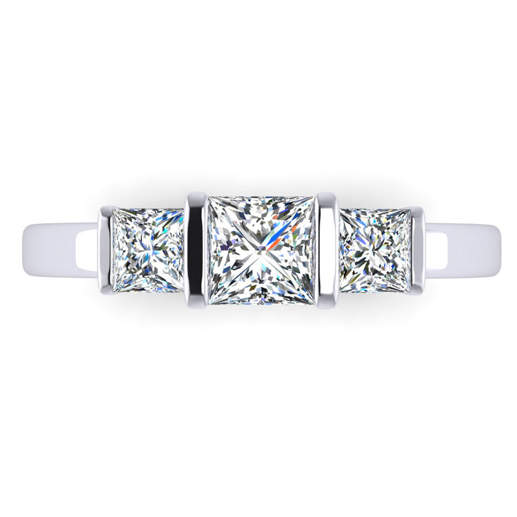 Platinum Trilogy Ring with Fine Princess Cut Diamonds