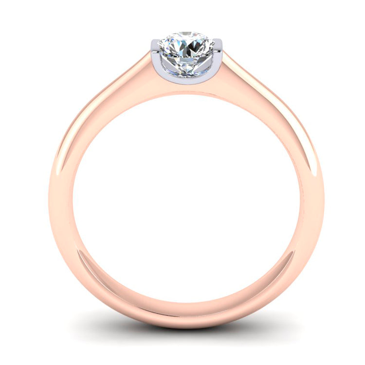 GIA F VS2 18ct Red Gold and Platinum Engagement Ring