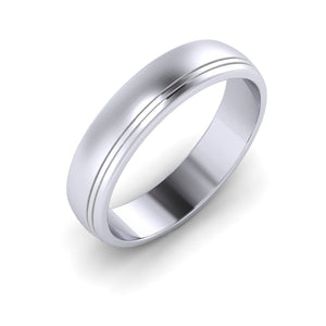 Platinum 5mm Wedding ring with two engraved lines
