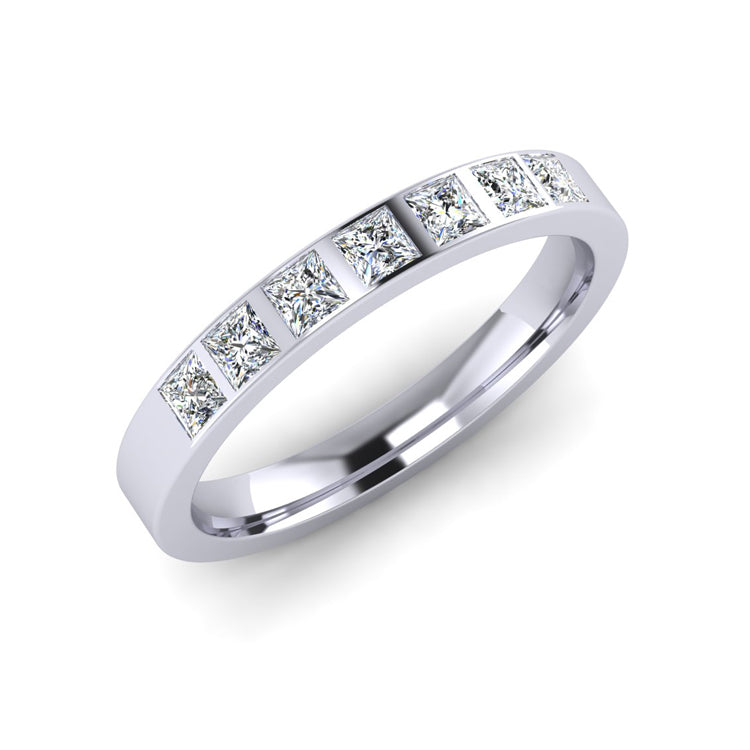 Platinum 3mm Wedding Ring  with 7 Princess Cut Diamonds