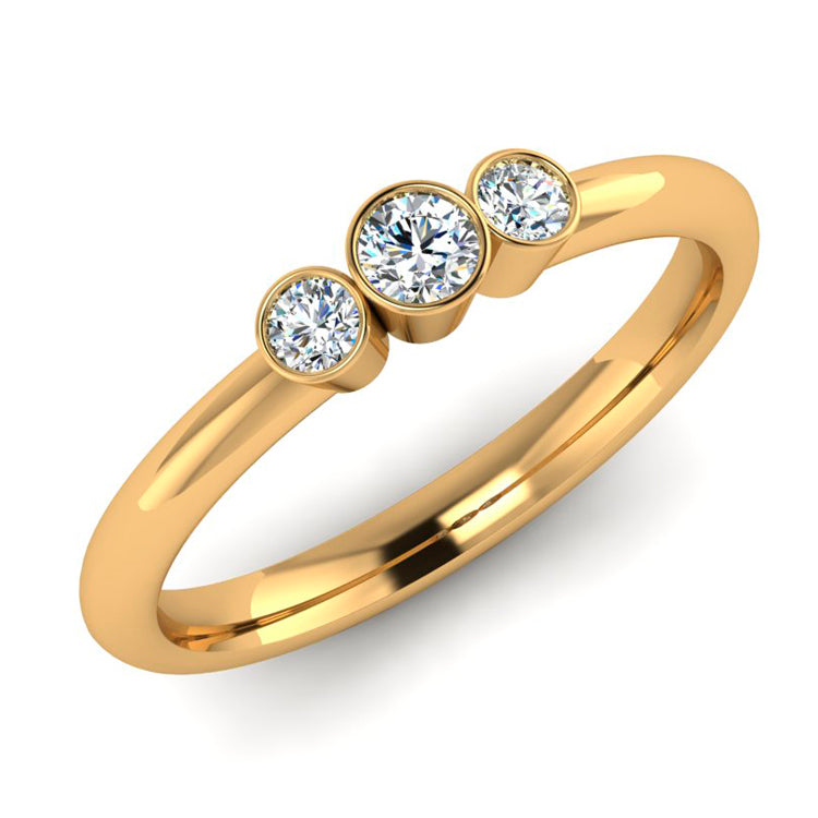 18ct Gold Collet Set Trilogy ring with fine diamonds
