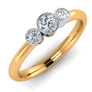Platinum and 18ct Gold Diamond Trilogy Ring