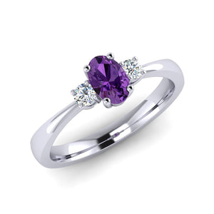 Fine Purple Sapphire and Diamond Engagement Ring