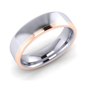 Platinum and 18ct Red Gold 6mm Men's Wedding Ring