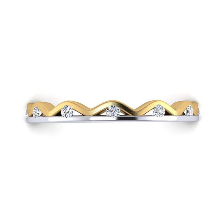 18ct Gold and Platinum Shimmer Ring with Fine Diamonds