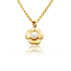 9ct Yellow Gold Mariposa Pendant with White Pearl