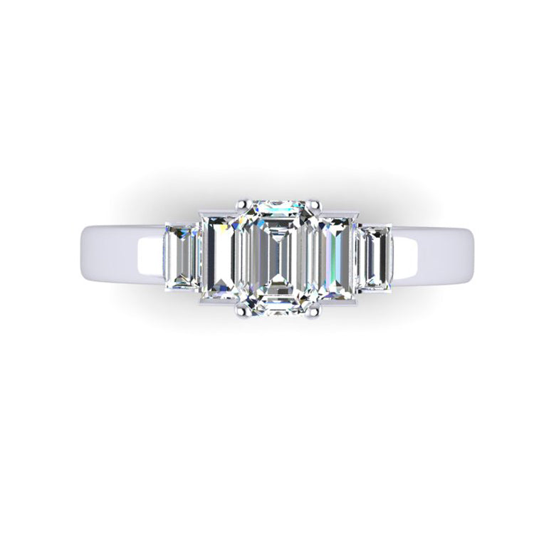 Platinum and Fine Emerald Cut Diamond Engagement Ring