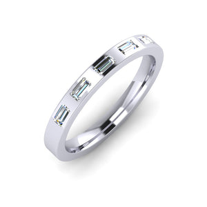 Platinum 3mm Eternity Ring with 5 Baguette Cut Diamonds