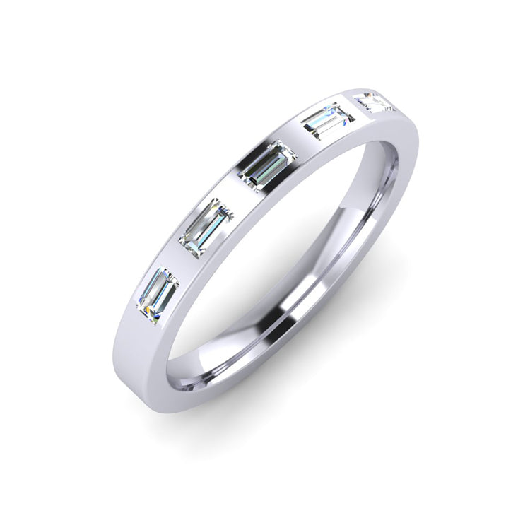 Platinum 3mm Wedding Ring with 5 Baguette Cut Diamonds